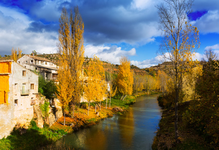 olden day: River Tajo at Trillo in autumn.  Spain
