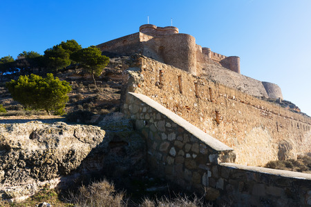 argon: Day view of castle of Chinchilla.  Province of Albacete, Spain