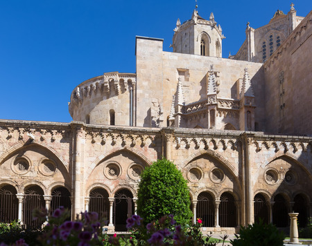 cloister: Tarragona Cathedral from cloister.  Spain Stock Photo