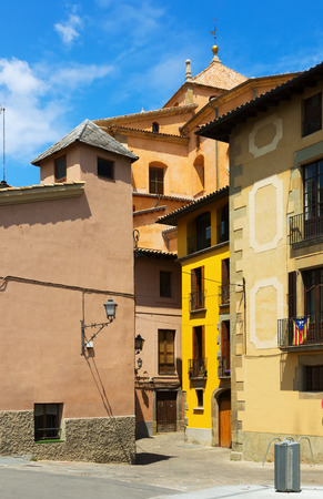 olden day: picturesque street of  Catalan town. Vic,  Spain Stock Photo