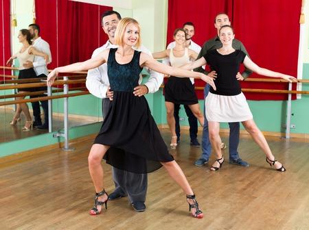 danza clasica: Árbol elegantes parejas positivas bailando vals en su clase de baile