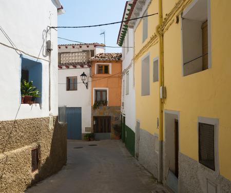 spanish village: street of old spanish village in summer. Los Fayos, Aragon