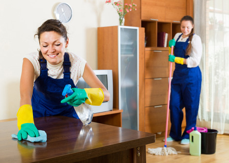 Professional spanish cleaners cleaning in room