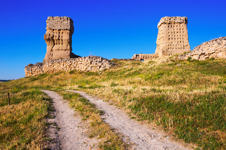 castile: View of  abandoned castle of Palenzuela.  Castile and Leon, Spain Stock Photo