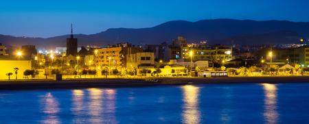fabrica: Seaside of Badalona in evening. Catalonia, Spain Stock Photo