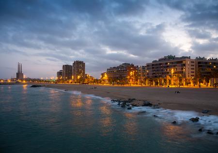 fabrica: beach of Badalona in evening time. Catalonia Stock Photo