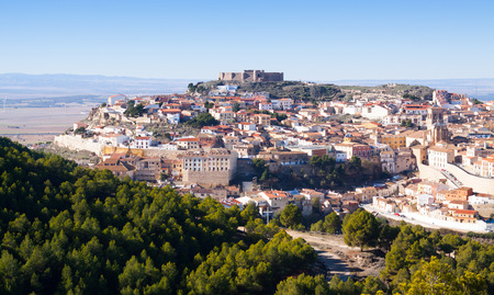 chinchilla: Chinchilla  from hill.  Albacete, Spain