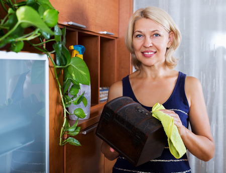 cleanser: Housewife cleaning casket with cleanser and rag at home