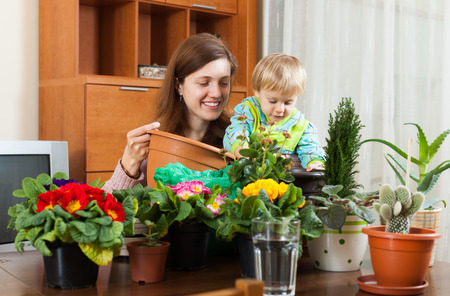 replant: Brunette mother with baby transplanting potted flowers at table in home Stock Photo