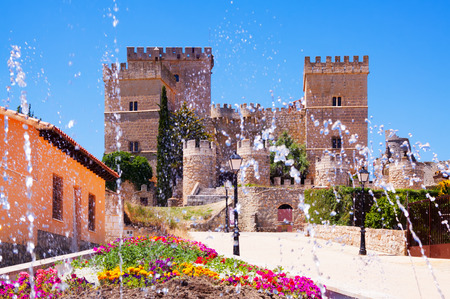 palencia province: Medieval castle of Ampudia  in summer.   Province of Palencia,   Spain