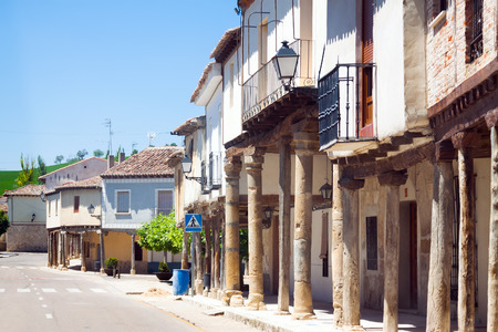 palencia province: Old houses at picturesque street of Ampudia.  Province of Palencia, Castile and Leon, Spain