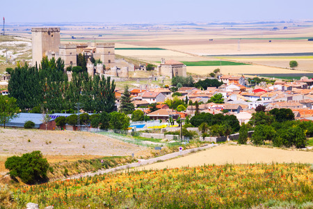 palencia province: General view of  Ampudia with  castle.   Province of Palencia, Castile and Leon, Spain