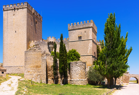 palencia province: Side view of medieval castle of  Ampudia in summer day.   Province of Palencia Editorial