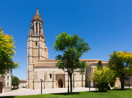 palencia province: Church of San Miguel in Ampudia. Province of Palencia, Castile and Leon, Spain Stock Photo