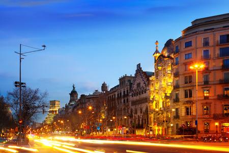 Evening view of Passeig de Gracia in winter. Barcelona, Spain
