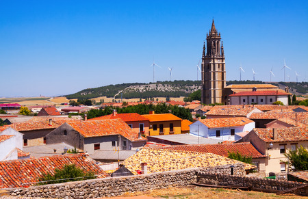 castile: spanish village with bell tower.  Ampudia,  Castile and Leon,   Spain