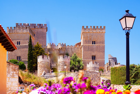 palencia province: Castle of Ampudia  in summer.   Province of Palencia, Castile and Leon, Spain Editorial