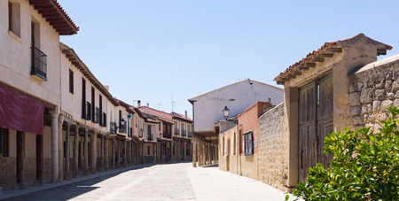 palencia province: Picturesque street of Ampudia in summer day.  Province of Palencia Stock Photo
