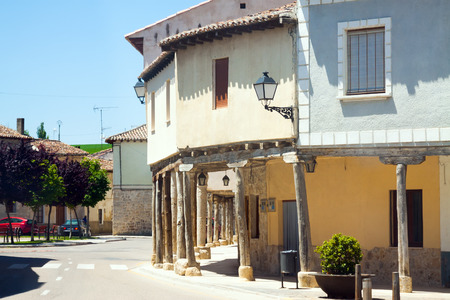 palencia province: picturesque street of Ampudia.  Province of Palencia,  Spain Stock Photo