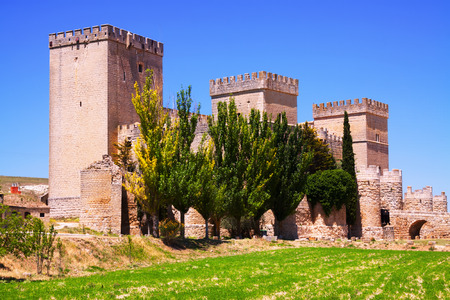 palencia province: General view of castle of  Ampudia.   Province of Palencia,  Spain