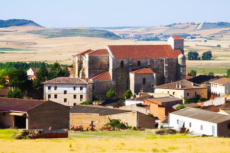 spanish village: View of  spanish village with Gothic church.  Palenzuela,  Castile and Leon ,   Spain