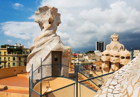 BARCELONA, SPAIN - JUNE 15, 2015: Roof of Casa Mila  built in 1905–1910 by Catalan architect Antoni Gaudi. Barcelona, Spain