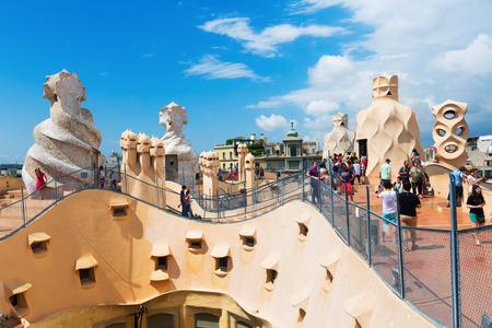BARCELONA, SPAIN - JUNE 15, 2015: Roof of Casa Mila (La Pedrera) built in 1905–1910 by Catalan architect  Gaudi. Barcelona, Spain