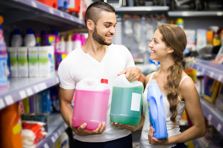 people buying: people buying detergents for house in the shopping mall