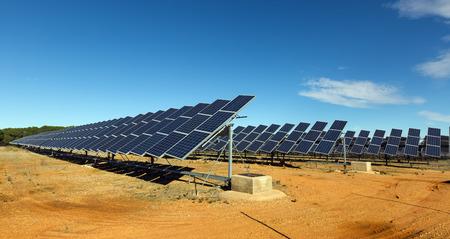 photocell: New technology of energy production: solar panels Stock Photo