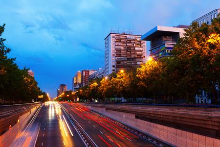 castellana: Paseo de la Castellana - most important street at Chamartin district in summer evening. Madrid, Spain