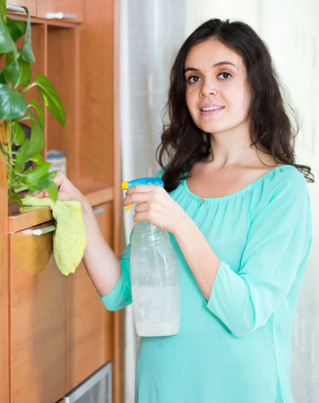 cleanser: Happy adult  brunette girl cleaning furniture with cleanser and rag in living room