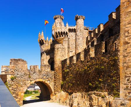 castile: Facade of  Templar Castle, built in the 12th century. Ponferrada, Castile and Leon, Spain
