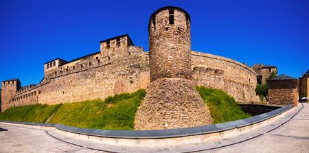 castile leon: Panorama of  Templar Castle in Ponferrada.  Castile and Leon, Spain