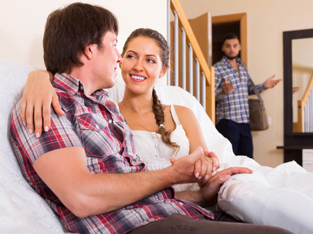 cheater: Surprised husband coming home in wrong moment