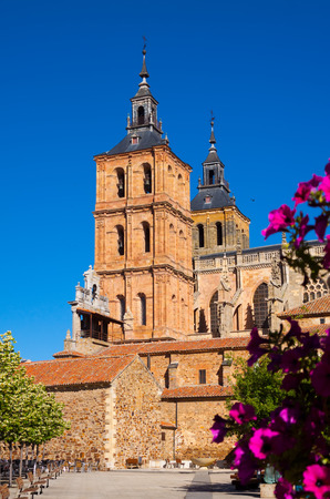 castile and leon: Cathedral at Astorga in summer day time.   Castile and Leon, Spain