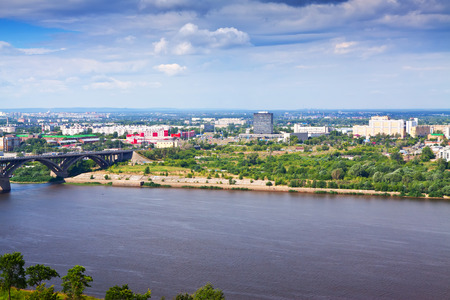 residential settlement: view of  industry district at Nizhny Novgorod in summer. Russia Stock Photo
