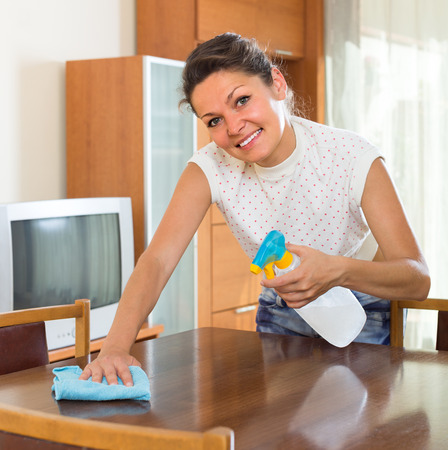 shred: Smiling young woman cleaning furniture at home with sprayer and shred Stock Photo