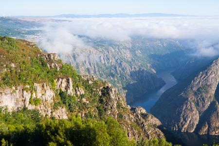 sil: Fog over  river Sil.  Galicia, Spain Stock Photo