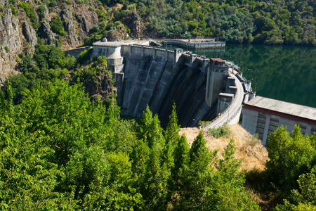 galicia: dam of Energy power station at Sil river. Galicia, Spain