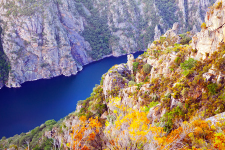 galicia: Sil river with high  banks. Galicia,  Spain