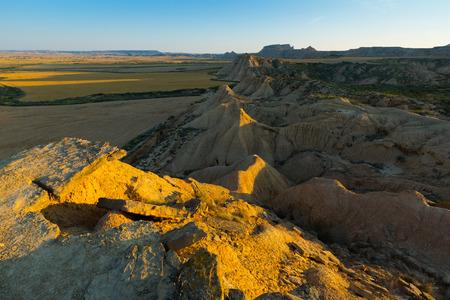 navarra: desert landscape   in summer morning. Navarra, Spain