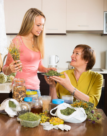 pensioner: Woman pensioner and girl  with medicinal herbs brewing herbal tea Stock Photo