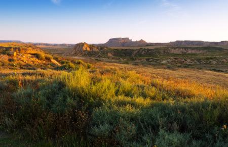 navarra: desert landscape of Navarra in summer morning. Spain