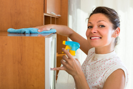 shred: Joyful smiling young housewife cleaning cabinet with sprayer and shred