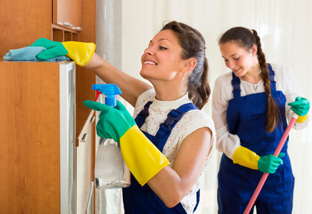 cleaner: Smiling female professional cleaners in uniform cleaning at the living room Stock Photo