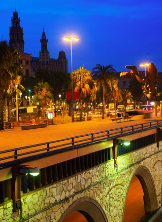 postal office: night view of embankment with main postal office. Barcelona, Spain Stock Photo
