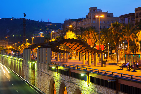 columb: night view of Columbus statue and embankment in Barcelona. Catalonia, Spain Stock Photo