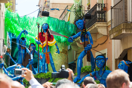 cine: BARCELONA, SPAIN - AUGUST 16, 2015:  Gracia Festival  in Barcelona. Decorated streets of Gracia district. Avatar film theme Editorial