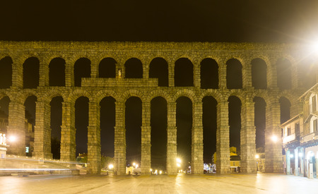 segovia: ancient  roman aqueduct  in  night. Segovia, Spain Stock Photo
