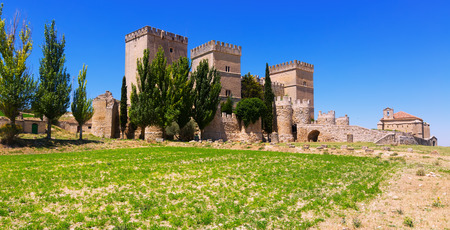 palencia province: General view of medieval castle of  Ampudia in summer.   Province of Palencia, Castile and Leon, Spain